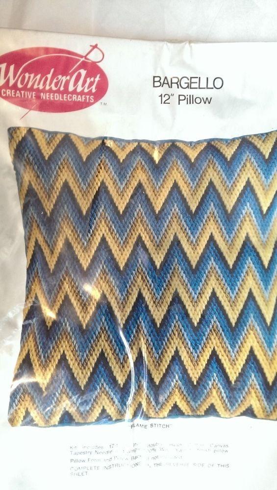Bargello Flame Stitch 12 In Pillow Double Mesh Canvas Vintage Wonderart 5332 USA