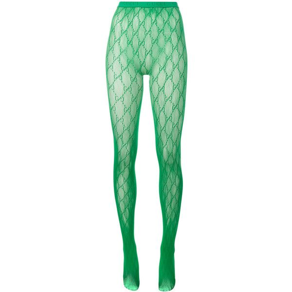 021866a6768018 Gucci Gucci Gg Logo Tights ($95) ❤ liked on Polyvore featuring intimates,  hosiery, tights, green, green stockings, gucci, elastic stockings, green  lingerie ...