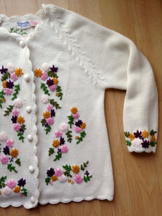 fef3177766fef6 Vintage Embroidered Cream Floral Sweater by by TheHighwayThrifters ...