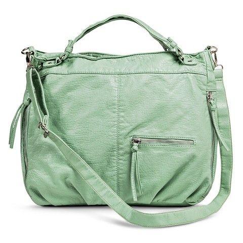 Women's Solid Hobo Handbag with Zipper Pockets - Pale Green