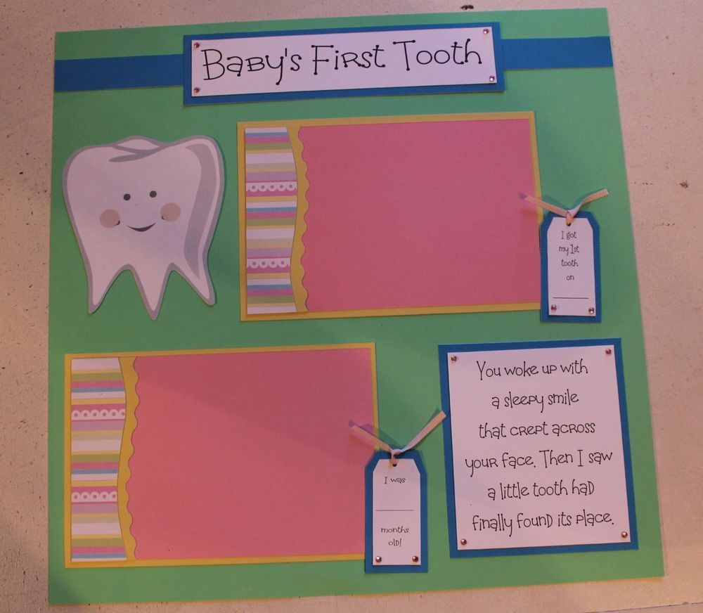 Baby scrapbook ideas quotes - 1 Pre Made 12 X 12 Baby First Tooth Scrapbook Page Teeth Handmade