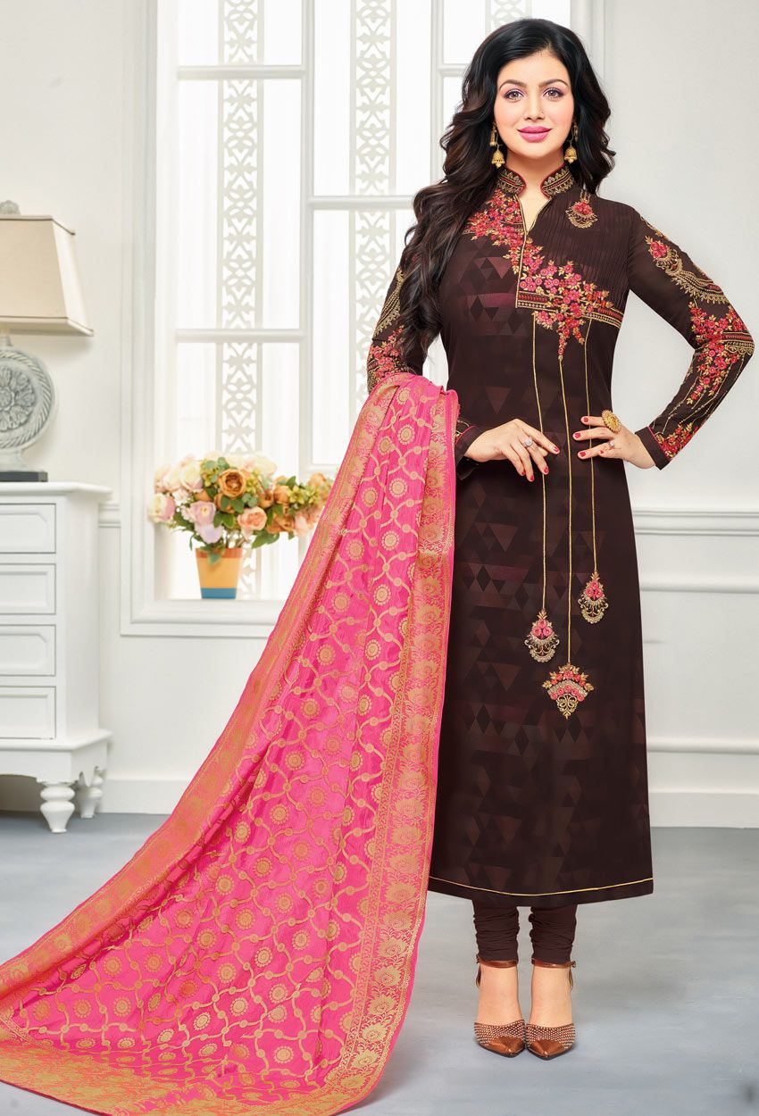 f6f5904bcc Shop ayesha takia in brown faux georgette straight suit , freeshipping all  over the world , Item code skdjc7