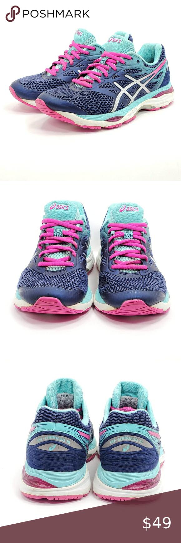 Asics Gel Cumulus 18 Running Training Shoes Blue Womens Running Shoes Blue Shoes Training Shoes