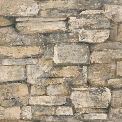 Bc1581934 Quarry Stone Brick Wallpaper From Design By Color Black Realistic Looking Stone Pattern For Ex Stone Wallpaper Brick Wallpaper Wallpaper Companies
