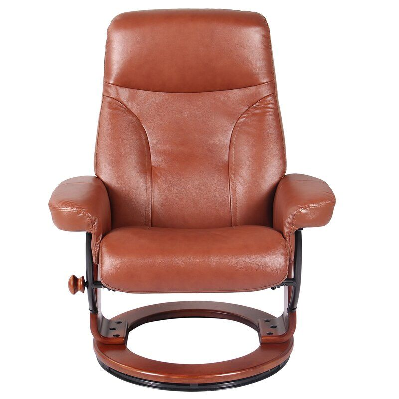 Awesome Melanie Leather Manual Swivel Recliner With Ottoman Home Gmtry Best Dining Table And Chair Ideas Images Gmtryco