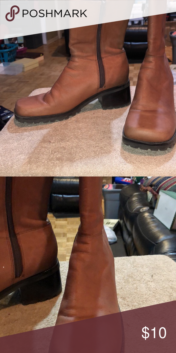 9a233b5e139e Boots Tan leather zip boot size 9.5 made by Gianni Bini Gianni Bini Shoes Ankle  Boots   Booties