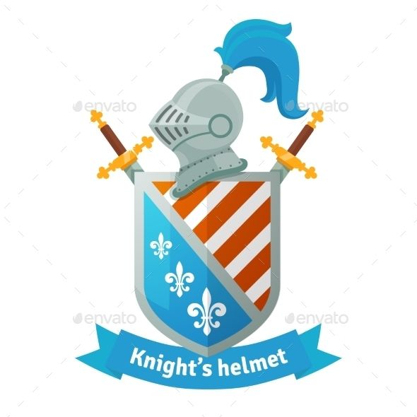 Coat of arms knight helmet. Medieval with shield crossed