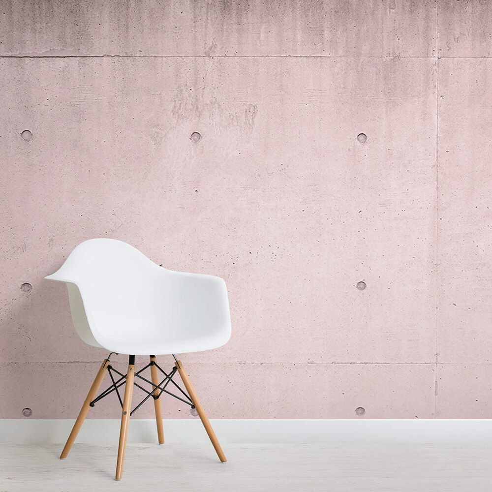 Pink Modern Concrete Block Wallpaper Mural Murals Wallpaper Rustic Living Room Furniture Concrete Block Walls Dining Chairs Diy