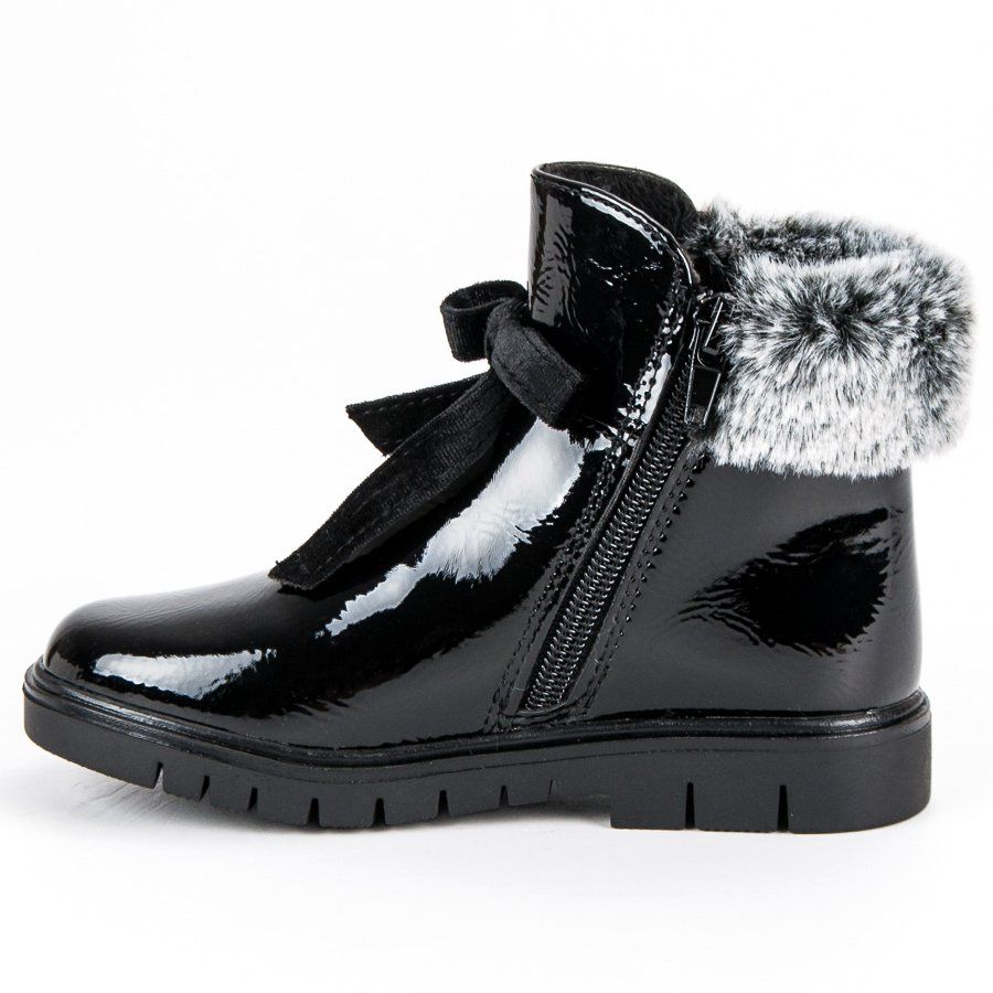 Kozaki Dla Dzieci Americanclub American Club Czarne Lakierowane Botki American Boots Chelsea Boots Ankle Boot