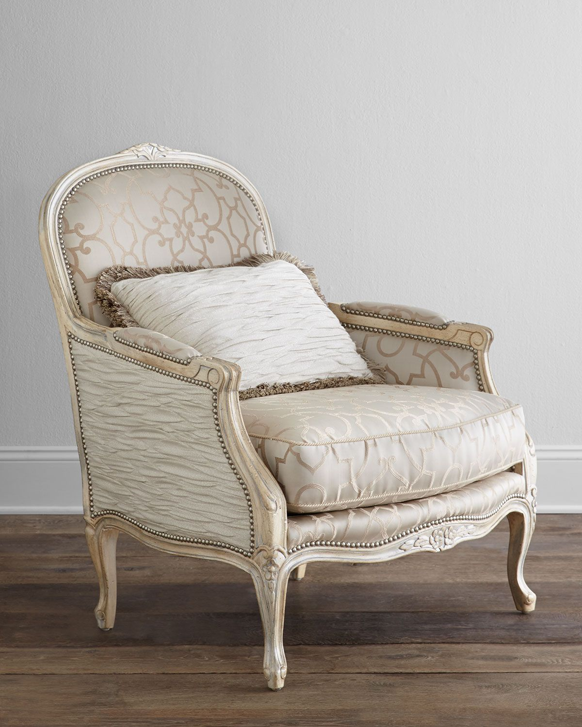 Ladonia Bergere Chair, Parchment/Ivory   Massoud Upholstery Reupholster  Inspiration DIY