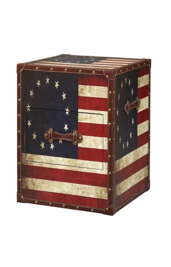 Linon Home Decor Trunks Vintage American Flag Square Storage Trunk