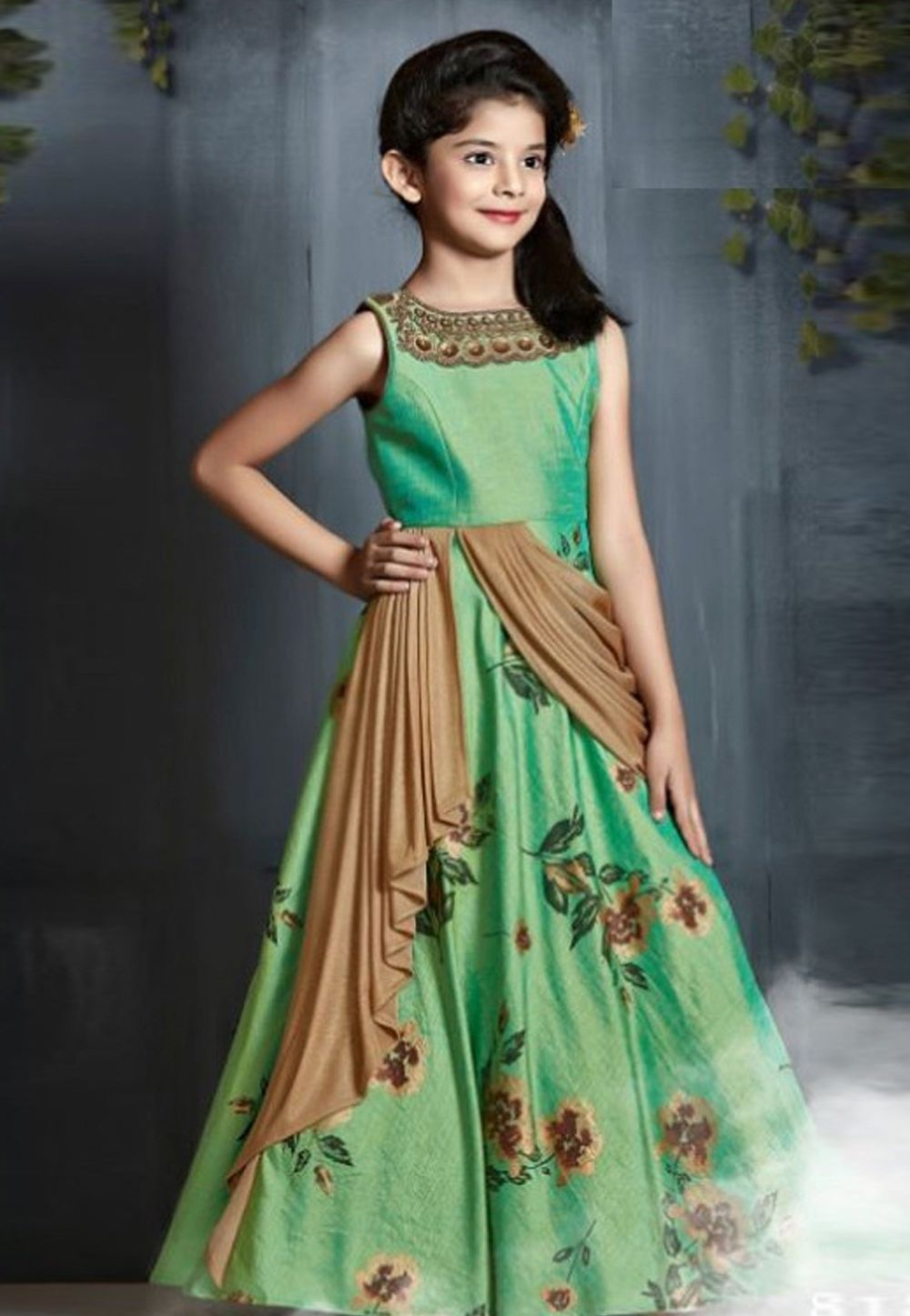 a4d1cb9323fbe Buy Green Satin Readymade Embroidered And Printed Draped Gown 165439 online  at lowest price from vast