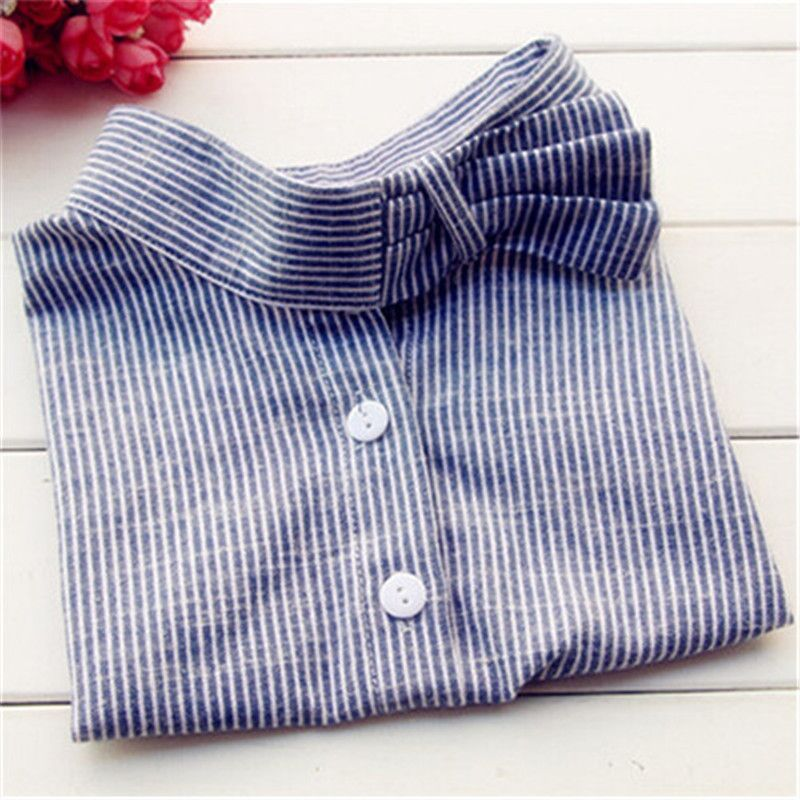 2016 New Jeans Shirt Collares Denim Blue Striped Fake False Collar Blouse Detachable Collar Fashion Apparel Accessories SC028