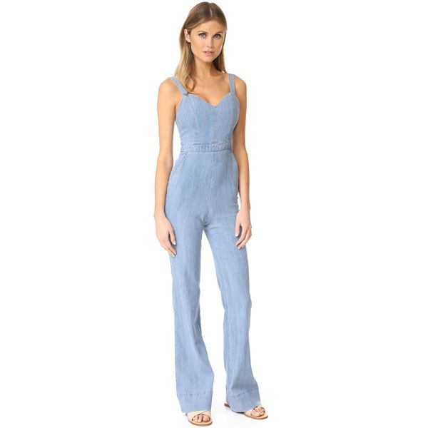 alice + olivia Cristal Wide Leg Overalls featuring polyvore women's fashion clothing jumpsuits light chambray zipper jumpsuit wide leg jumpsuits jumpsuit overalls lightweight bib overalls blue bib overalls