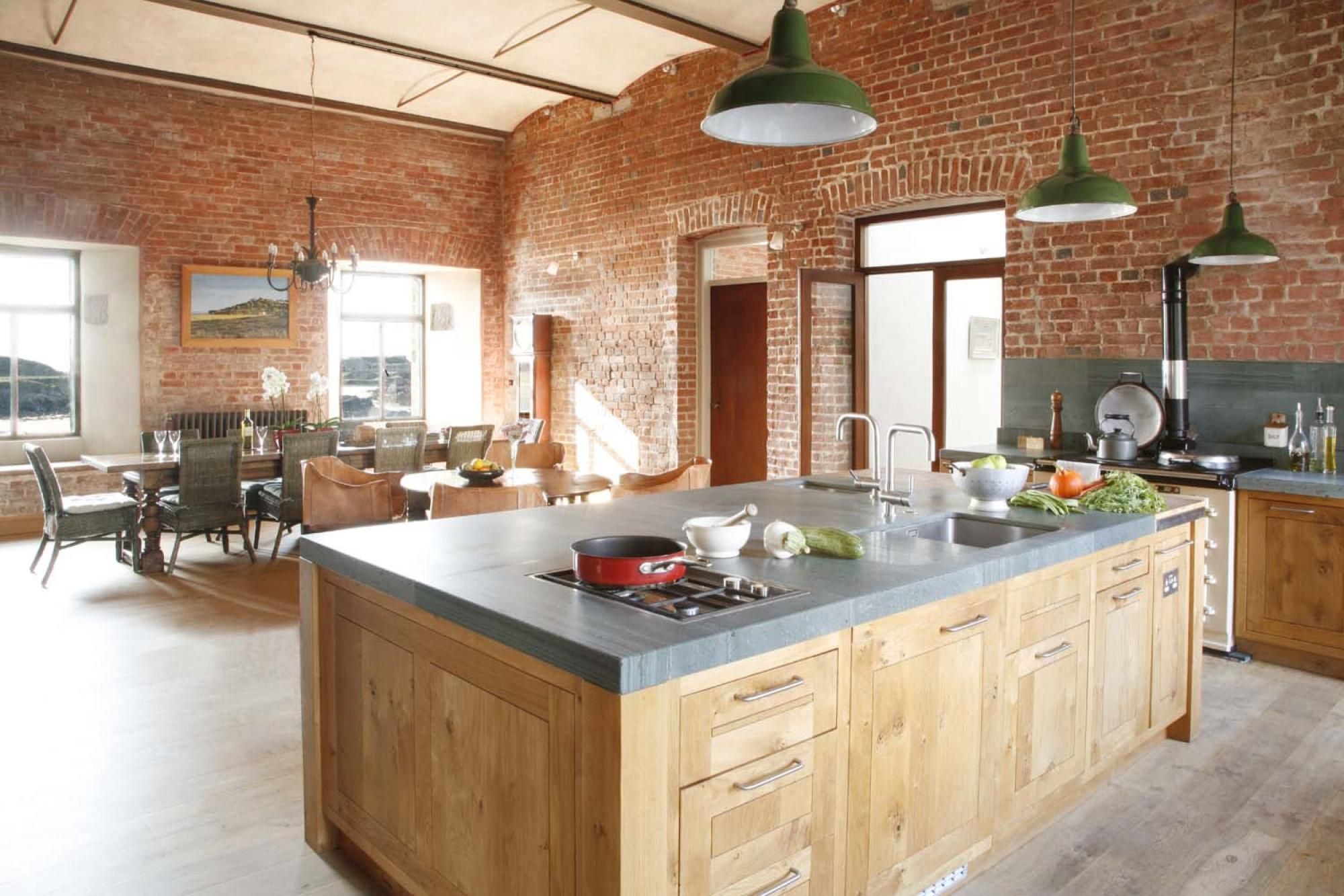 Solid Oak kitchen with English stone worktops Rustic