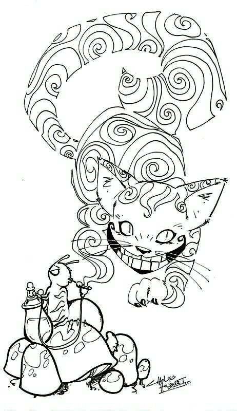 Just Touched Up The Darkness Of The Lines A Bit Cheshire Cat Coloring Page Steampunk Coloring Animal Coloring Pages Cat Coloring Page