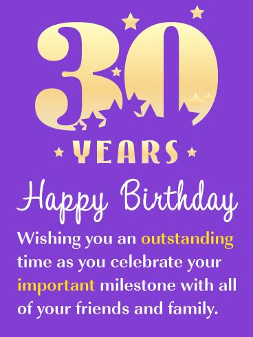 Important Milestone Happy 30th Birthday Card Birthday Greeting Cards By Davia Happy 30th Birthday 30th Birthday Cards 30th Birthday Wishes
