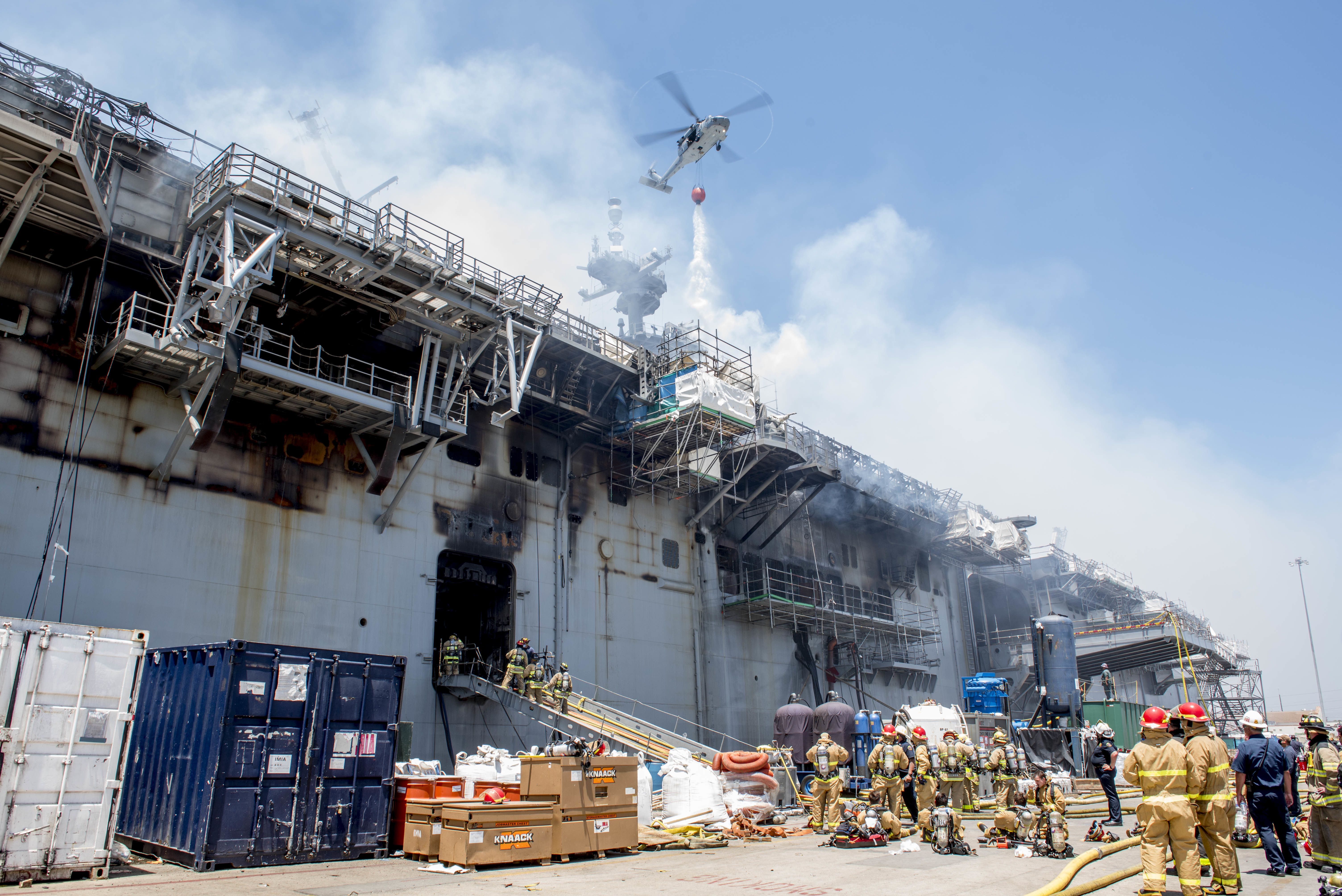 A Helicopter Combats A Fire Aboard The Amphibious Assault Ship Uss Bonhomme Richard Lhd 6 On The Morning Of July 12 A Fire Was In 2020 Naval Navy Day Cool Pictures