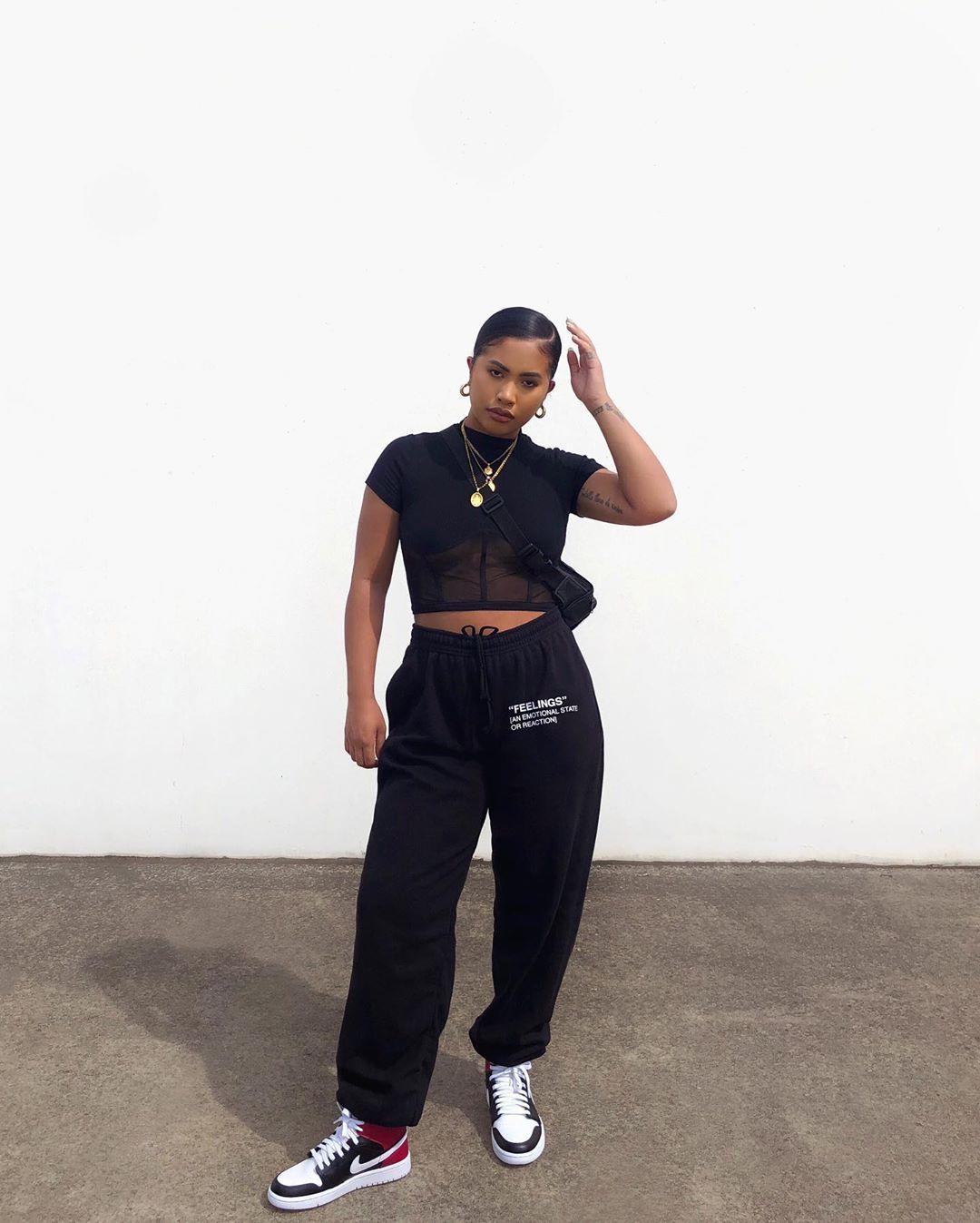 black jordans outfit