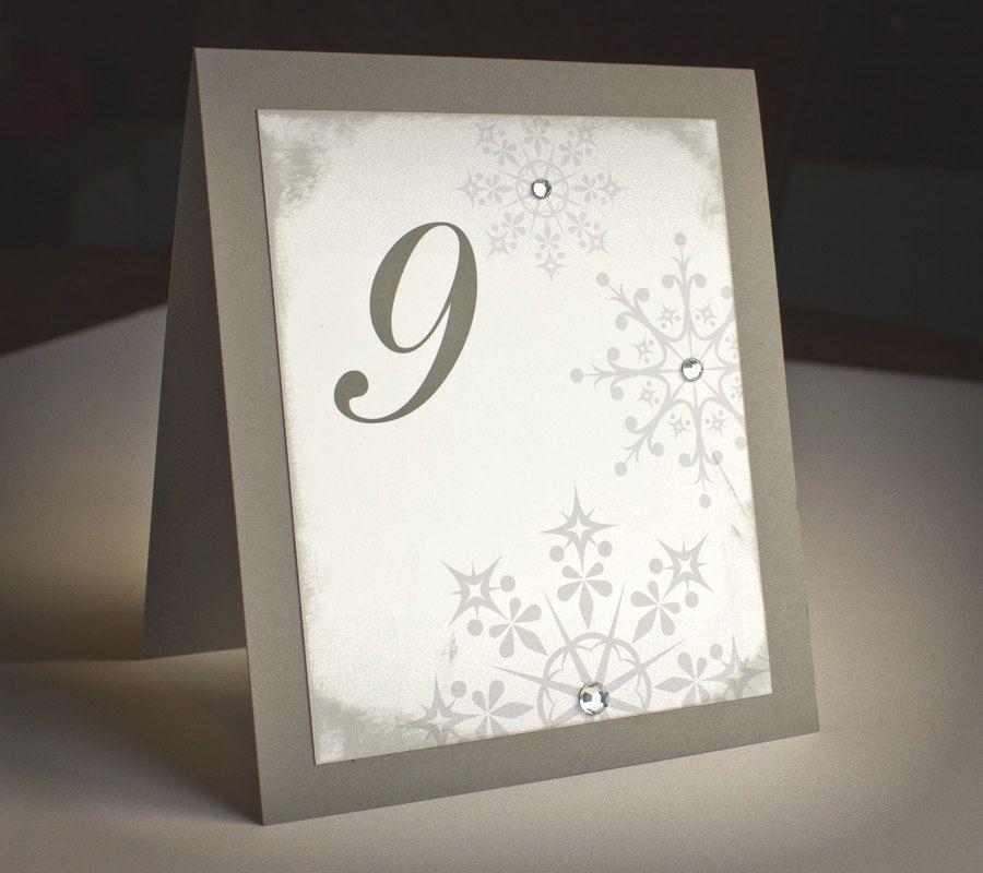 Winter Wedding Menu Ideas: Snowflake Table Numbers Tented WInter Wedding Reception