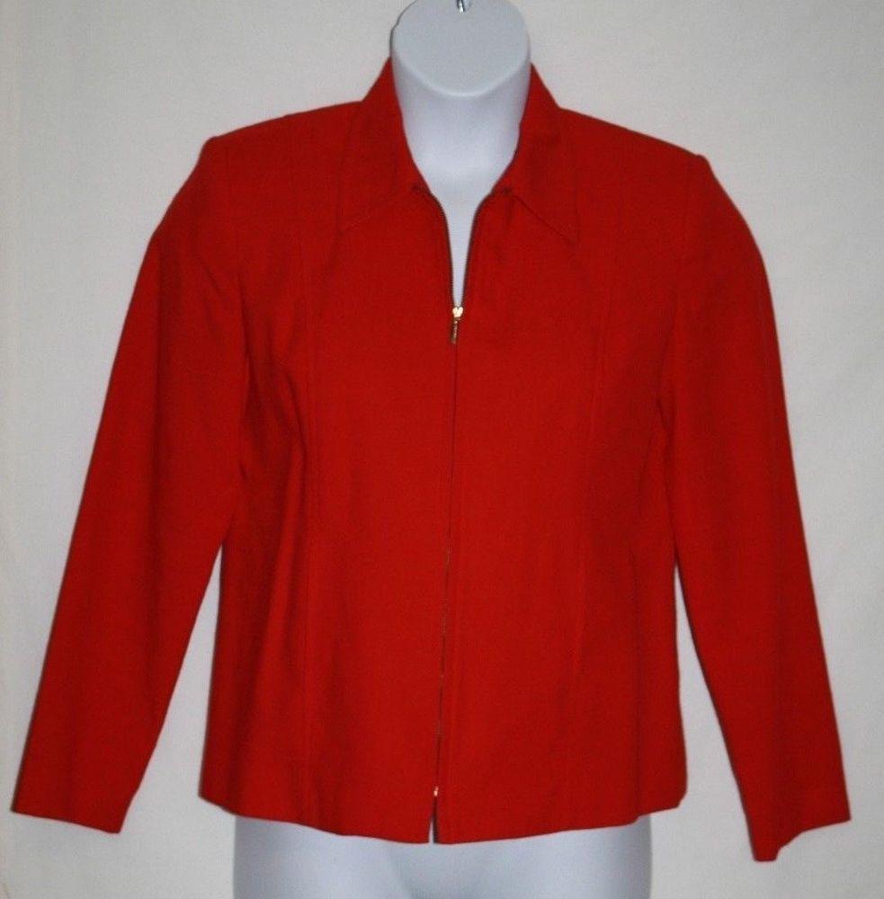 Requirements Misses 8 Jacket Career Blazer Red Solid Zip