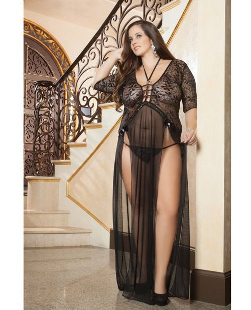 LONG SHEER & LACE GOWN WITH DOUBLE FRONT SLIT STRAPS & THONG Size 3X ...