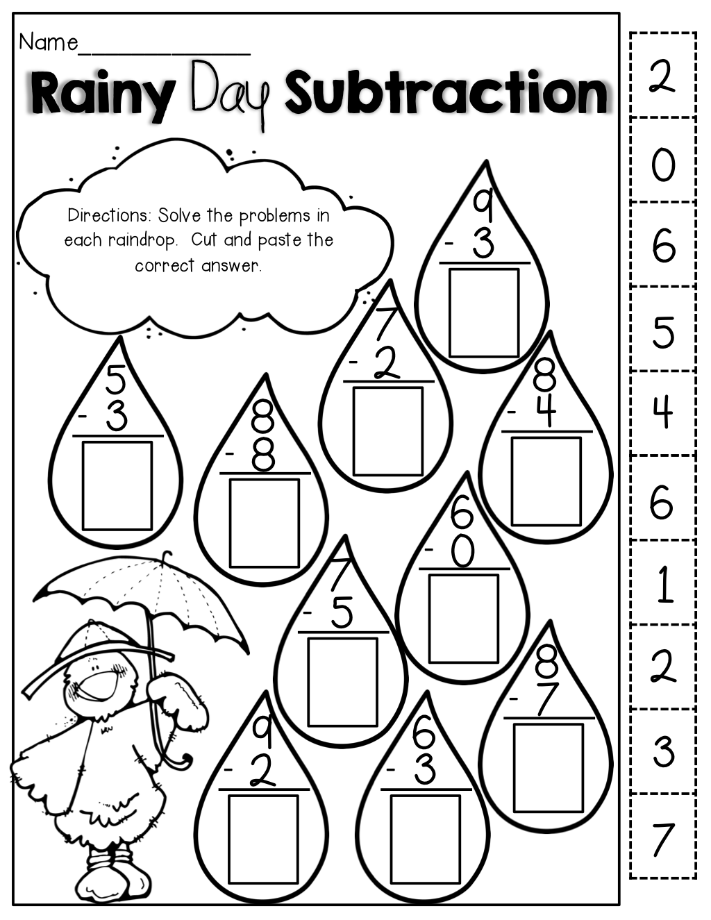 Rainy Day Subtraction – Cut and Paste Math Worksheets for First Grade