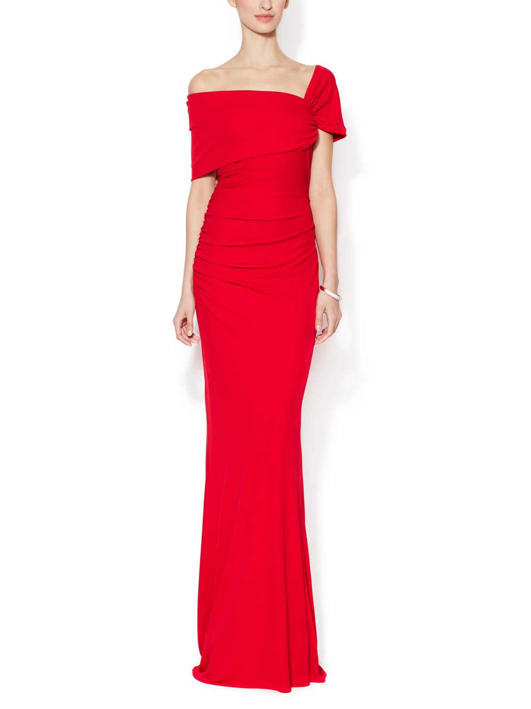 Off the shoulder ruched gown by badgley mischka collection at gilt