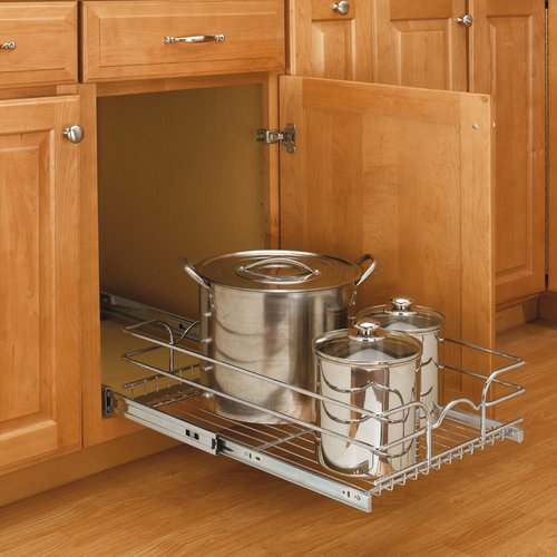 9 Single Pull Out Basket Chrome 5wb1 0918 Cr Rev A Shelf Kitchen Cabinet Pulls Shelves