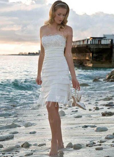 Robes de mariée - $99.99 - Forme Fourreau Sans bretelle Longueur genou Taffeta Robe de mariée avec Dentelle Emperler (00205001261)