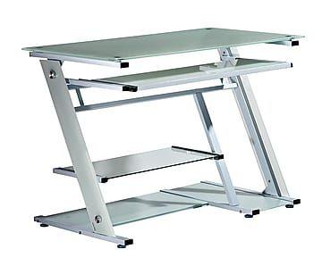 Mesa de ordenador de metal y cristal templado blanco Mesa ordenador carrefour
