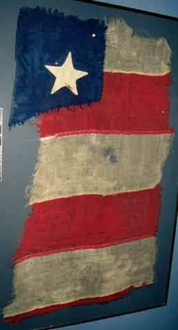 The flag of the USS Galena after being turned back with the Monitor and Naugatuck at Drewry's Bluff by Confederate forces, including the crew of the CSS Virginia.