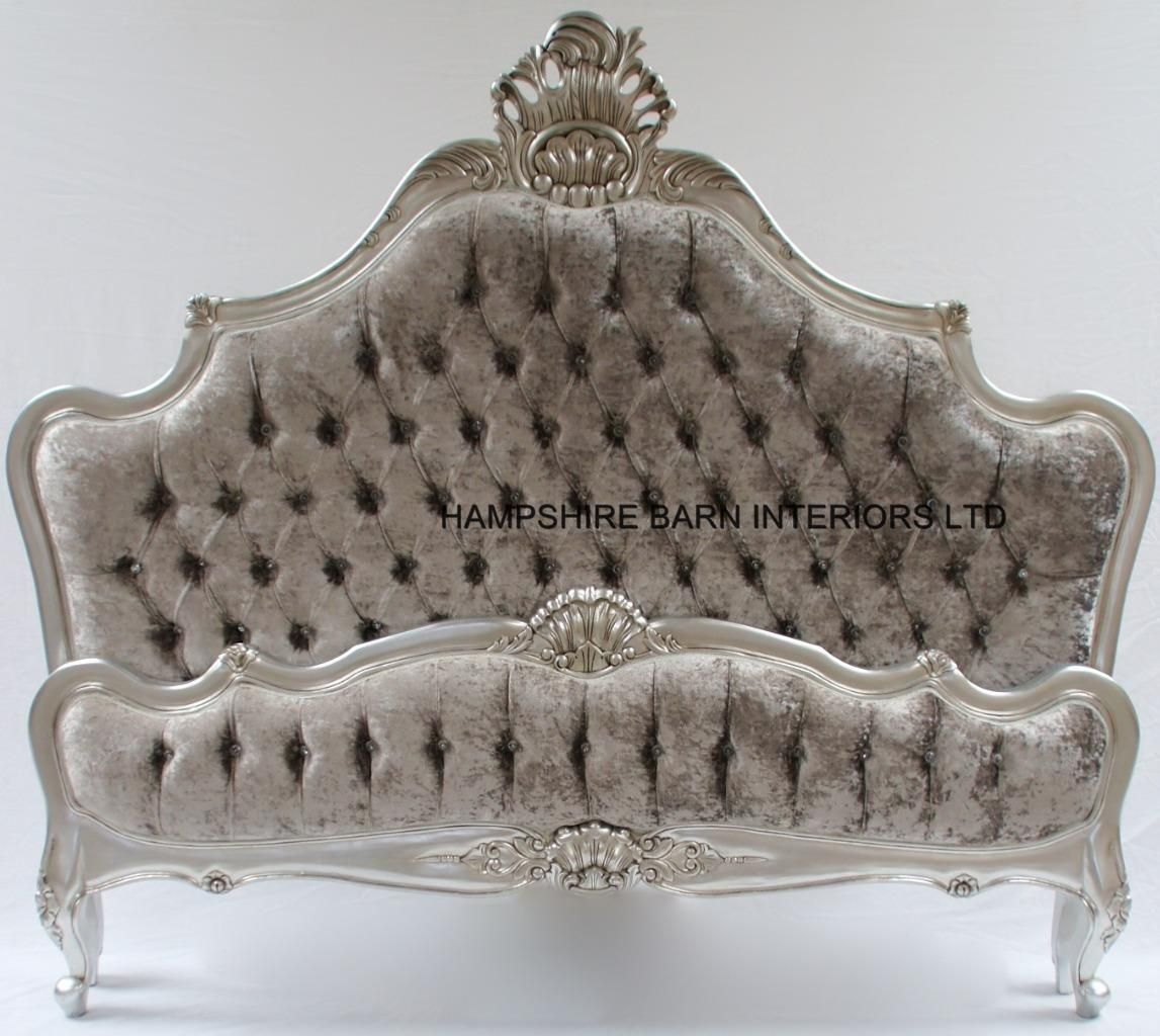 A Cannes French Style Ornate Bed Frame In Silver Leaf With Silver Mercury Crushed Velvet And Crystal Buttons With Images Ornate Bed Glam Room Bed Frame
