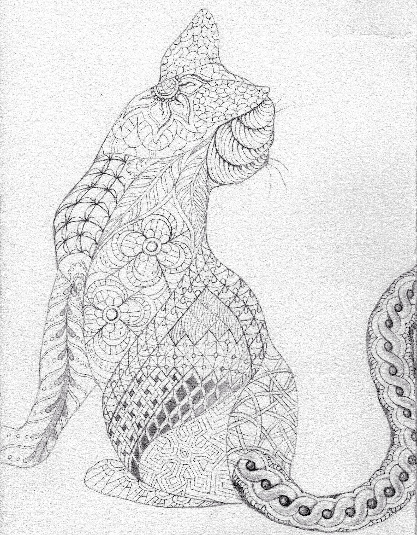 Zentangled Cat (Andie) | Zentangles etc. | Pinterest | Mandalas ...