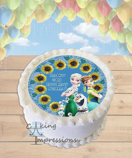 Frozen Fever Edible Image Cake Topper Sunflowers [ROUND]