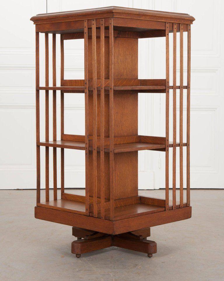 Victorian English 19th Century Oak Revolving Bookcase By S H
