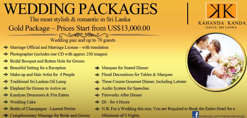 KK Gold Wedding Packages Overseas Weddings Are Becoming More And Popular Sri Lanka