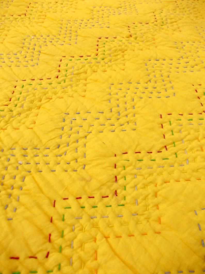Yellow Quilted Bedspread Chevron Pattern Zig Zag Quilting Etsy In 2020 Yellow Quilts Quilted Bedspreads Handmade Bedspreads
