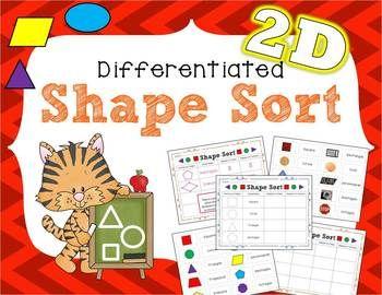 differentiated 2d shape sort the chalkboard garden shape sort shapes beginning of kindergarten. Black Bedroom Furniture Sets. Home Design Ideas