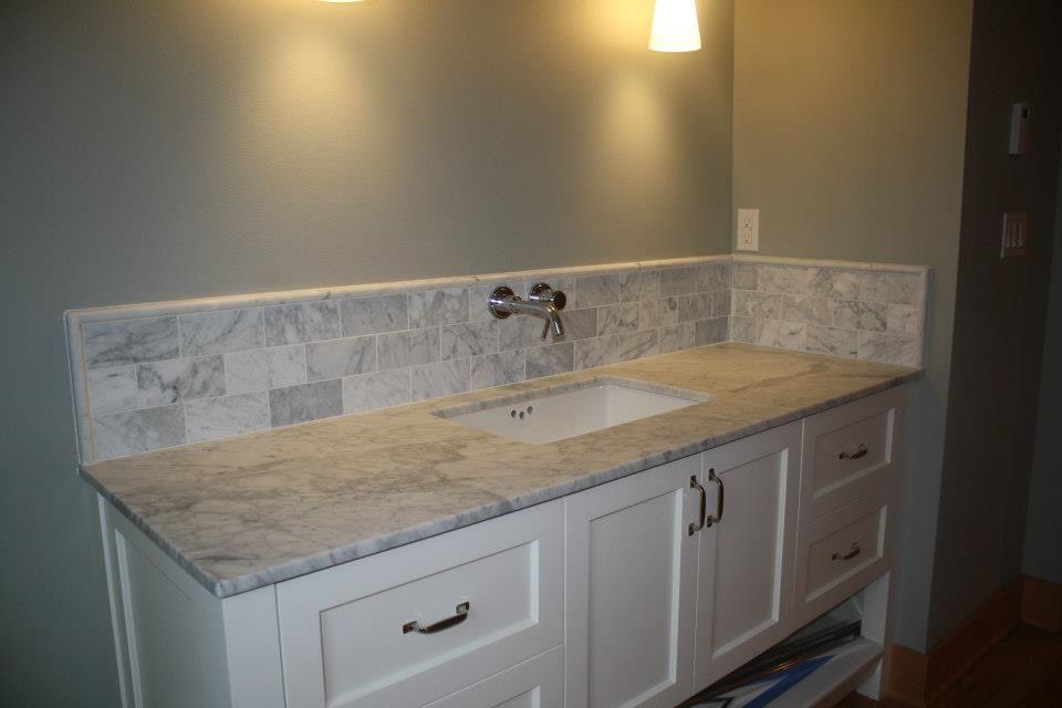Carrara Marble Slab Vanity Under Mount sink