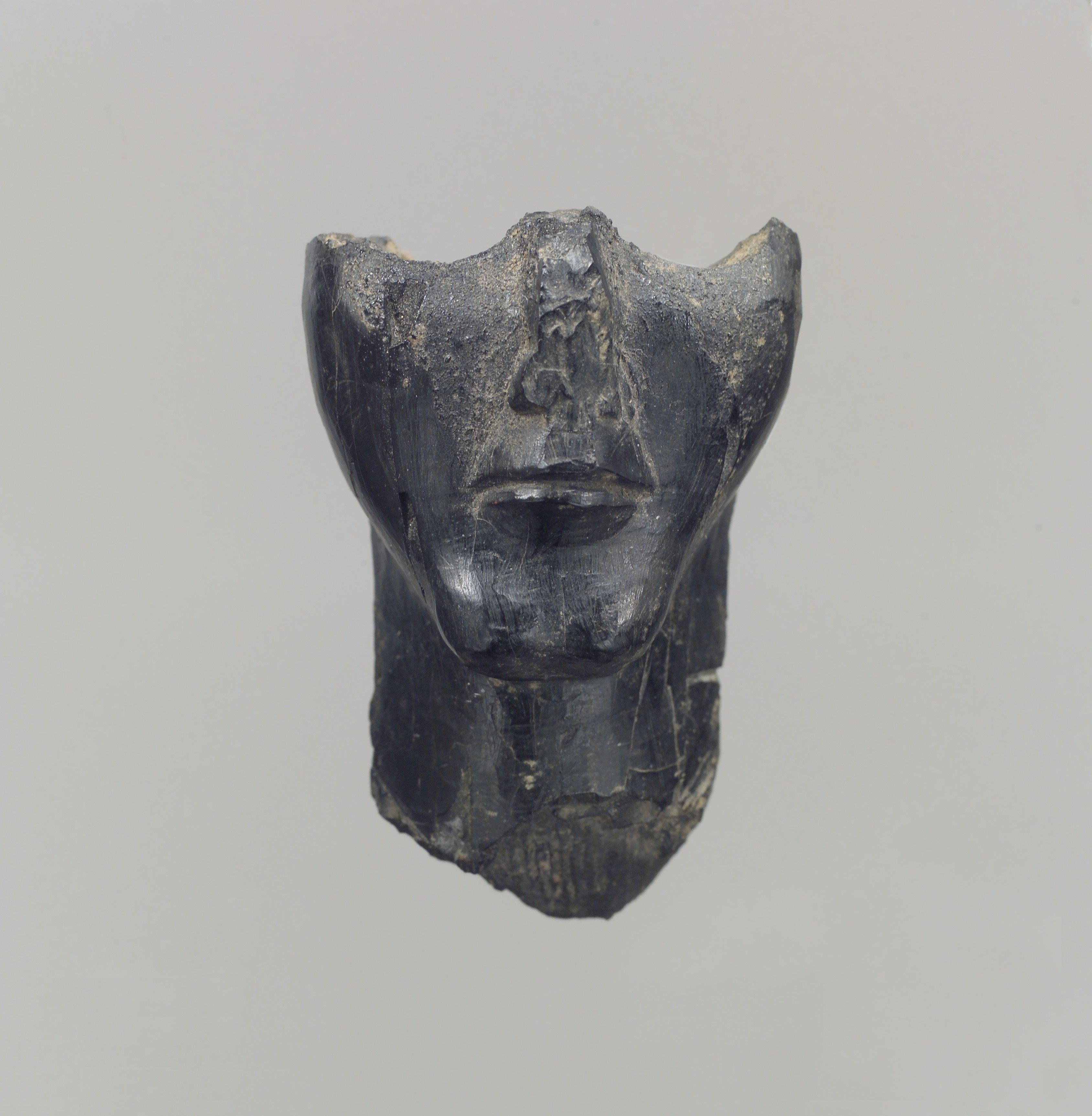 Lower half of a human head in the round Period: Iron Age II Date: ca. 9th century B.C.
