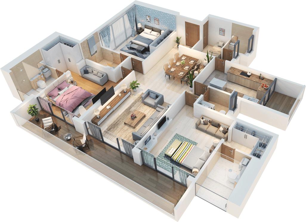 3 BHK & 4BHK Floor Plans | Bluegrass Residences in 2020 ...