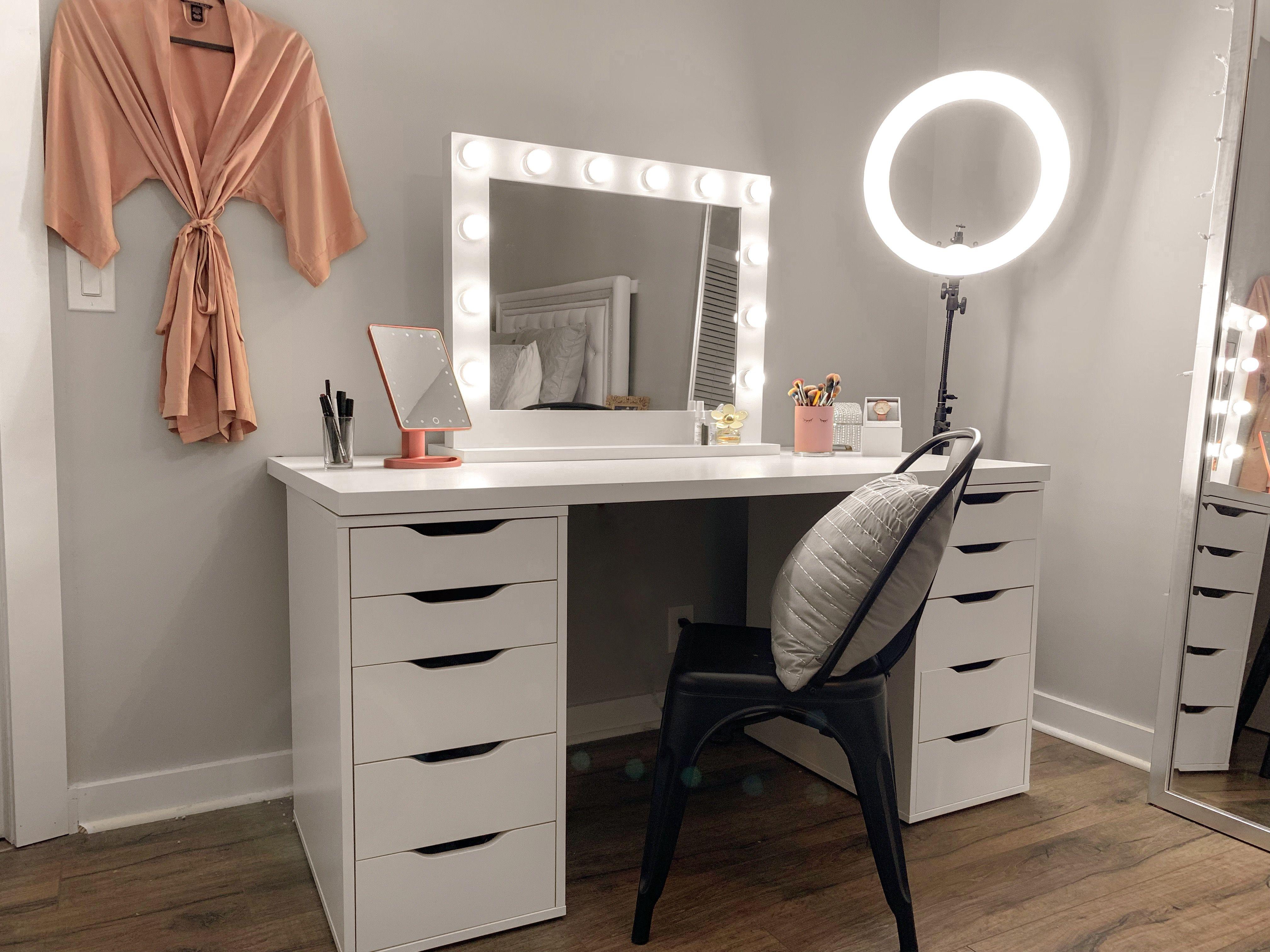 ikea vanity. ring light. makeup. Vanity set up, Vanity