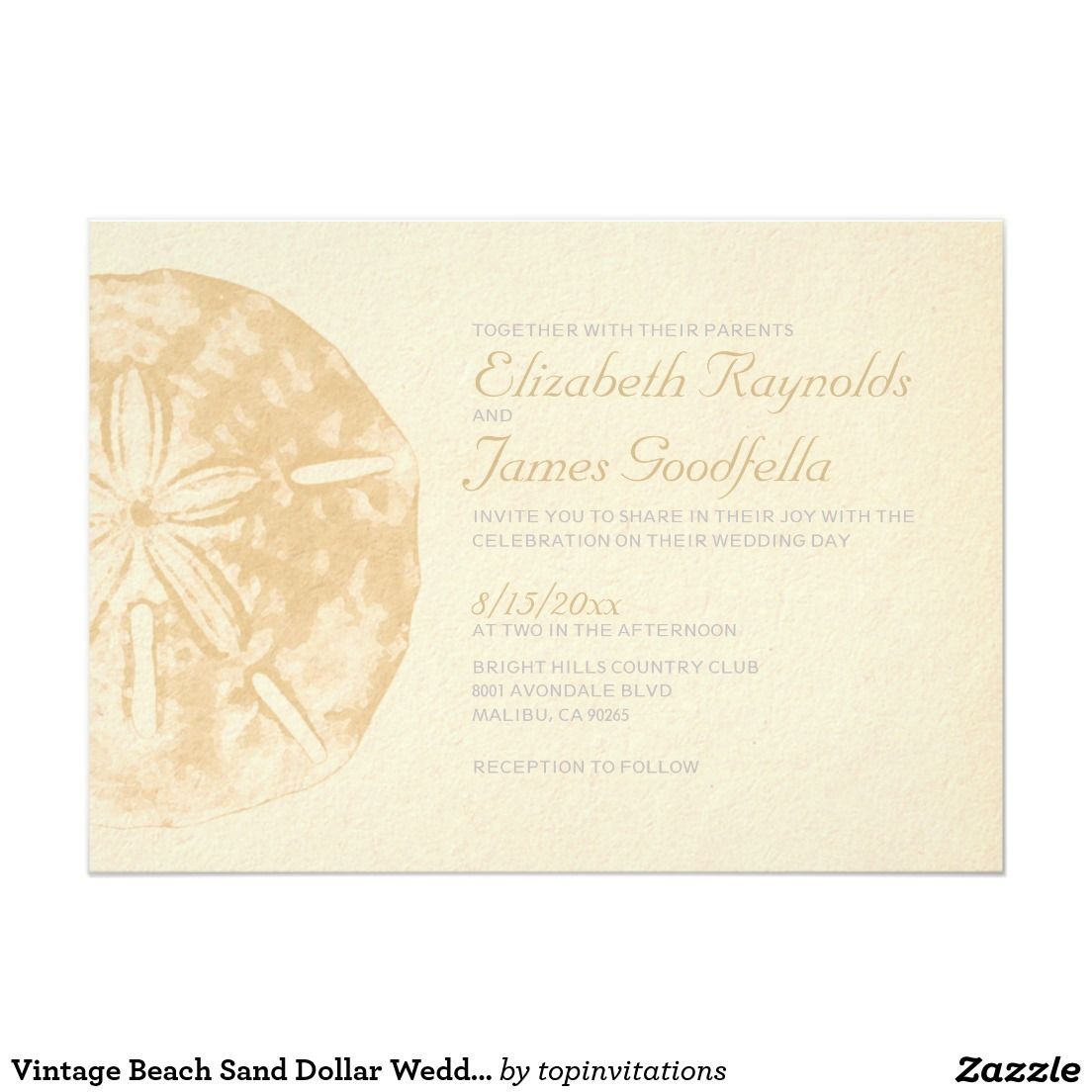 Vintage Beach Sand Dollar Wedding Invitations | NAUTICAL WEDDING ...