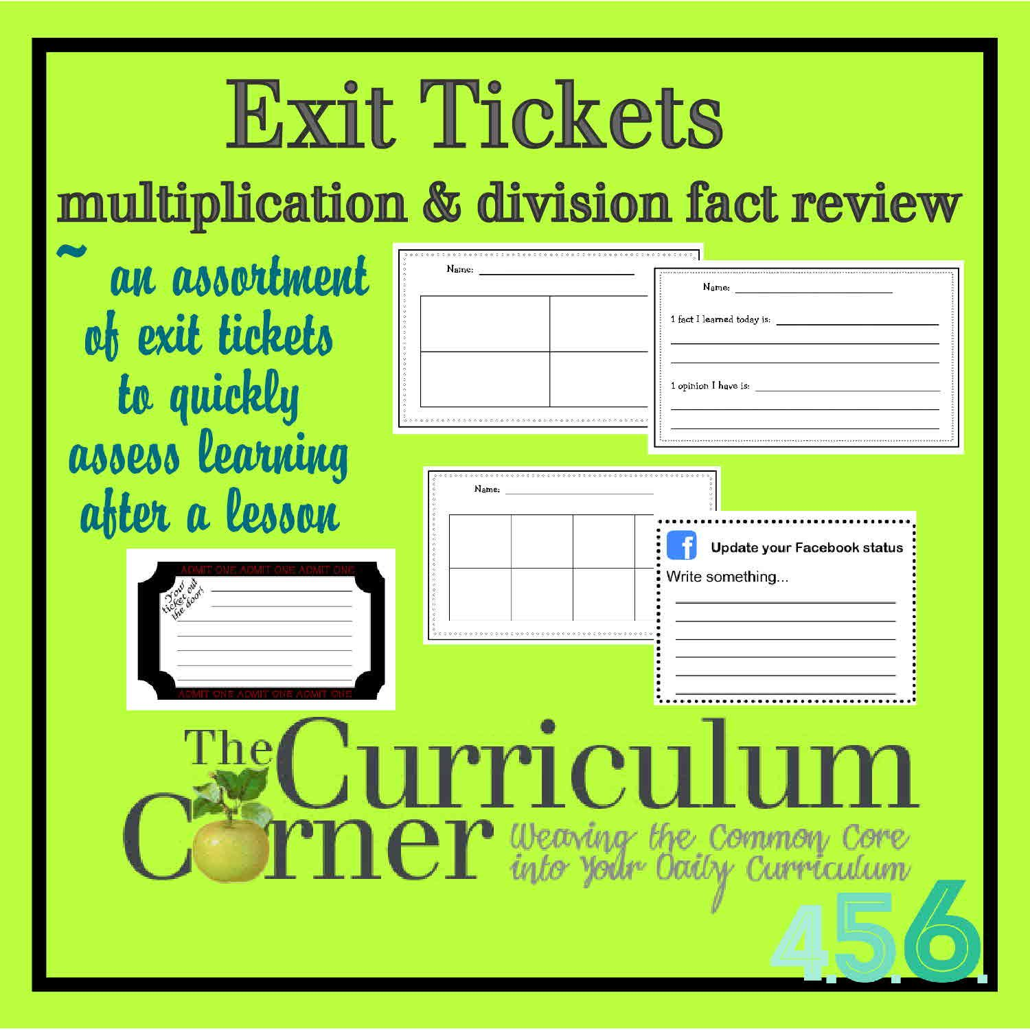 Free Editable Exit Tickets