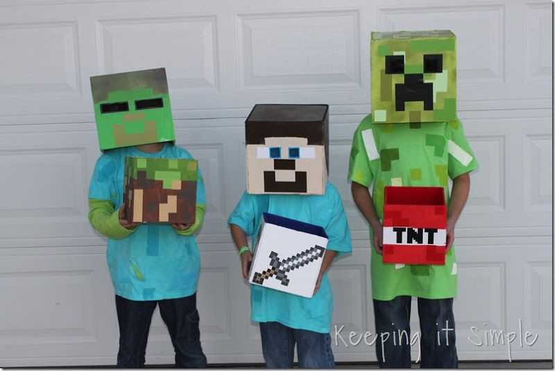DIY Minecraft Costumes, Creeper, Steve and Zombie Costume