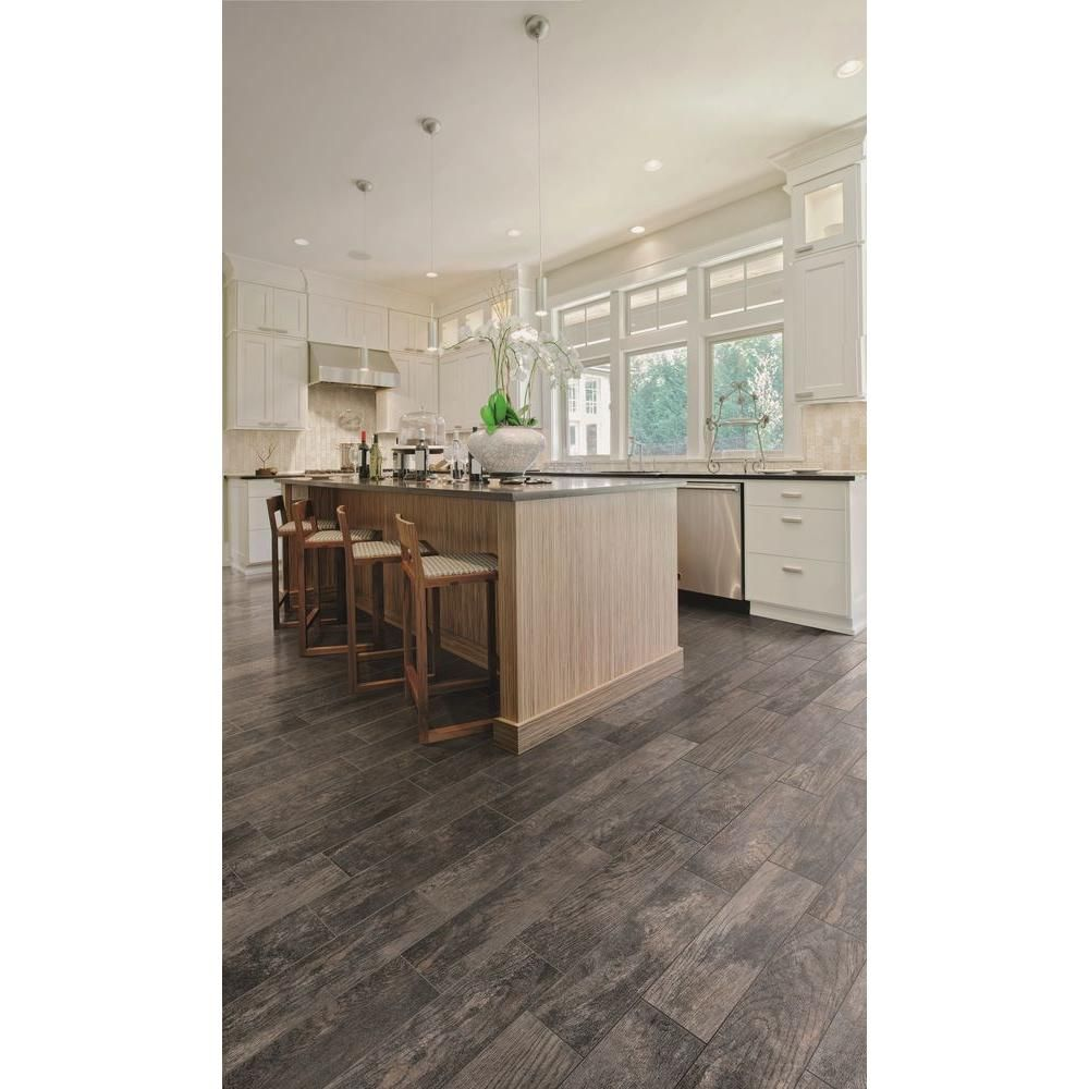 Marazzi Montagna Smoky Black 6 In X 24 In Glazed Porcelain Floor And Wall Tile 14 53 Sq Ft Case Ulm9 The H Porcelain Flooring House Flooring Flooring