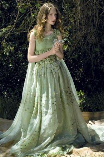 Gavin Rajah S Hand Painted Green Silk Wedding Dress With Crystal Detail Woodland Wedding Gorgeo Green Wedding Dresses Woodland Wedding Woodland Wedding Dress