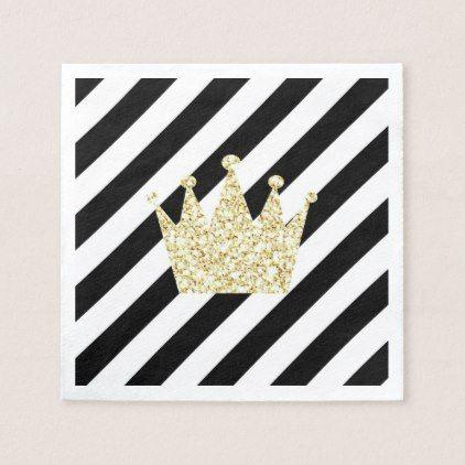 elegant baby napkins black and gold prince crown napkins baby birthday sweet gift