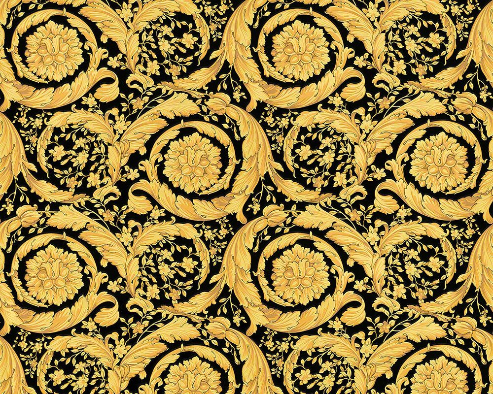 versace print background versace tapete in schwarz gold mit barockem blumen muster - Versace Muster